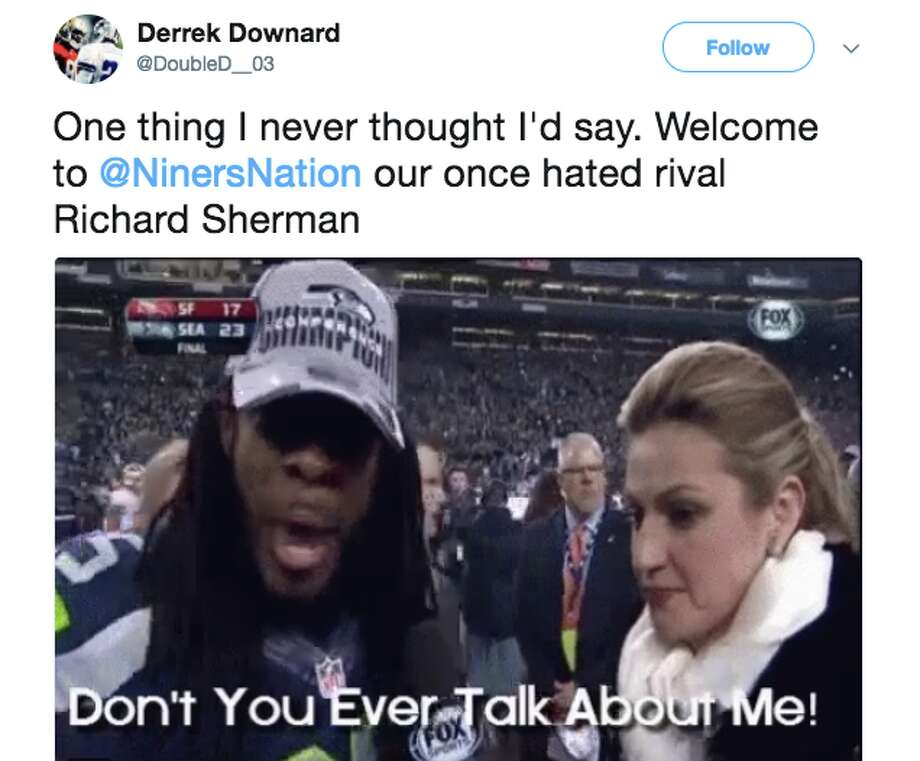 49ers fans took to Twitter to make amends with longtime-nemesis Richard Sherman. Photo: Twitter