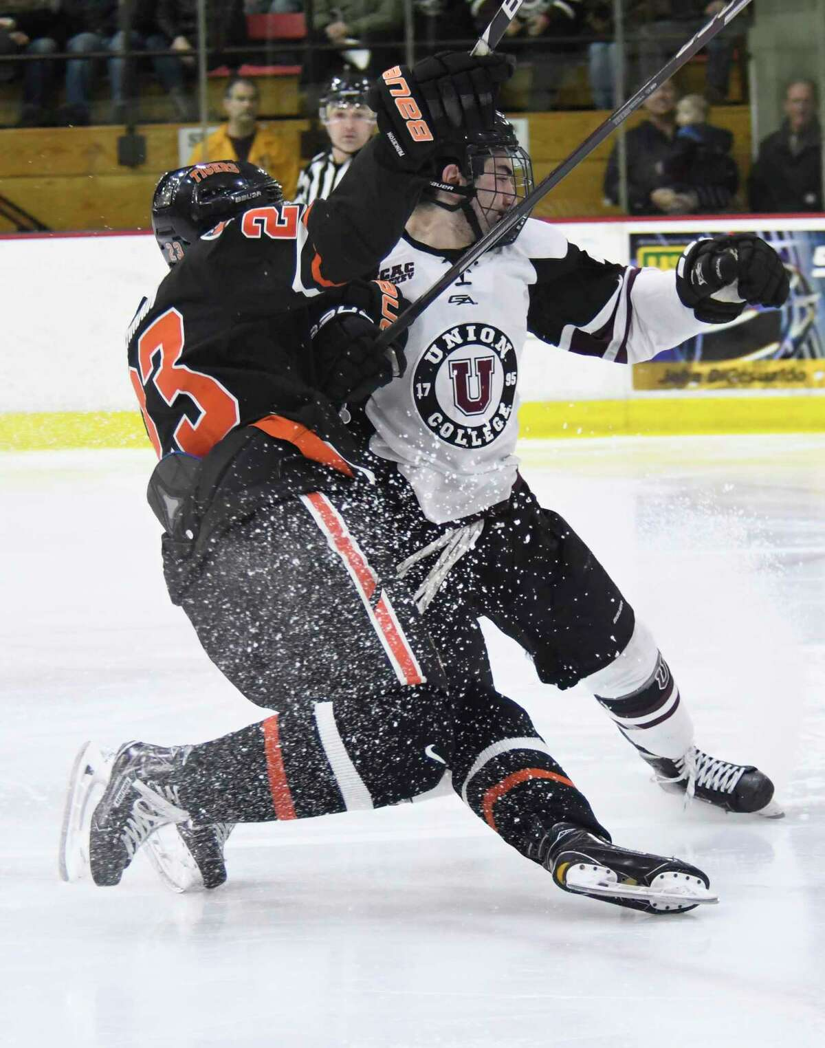 Princeton forward Jeremy Germain and Union defender Joseph Campolieto collide during an ECAC playoff game in Schenectady, N.Y., at Union College on Saturday, Mar. 10, 2018. (Jenn March, Special to the Times Union)