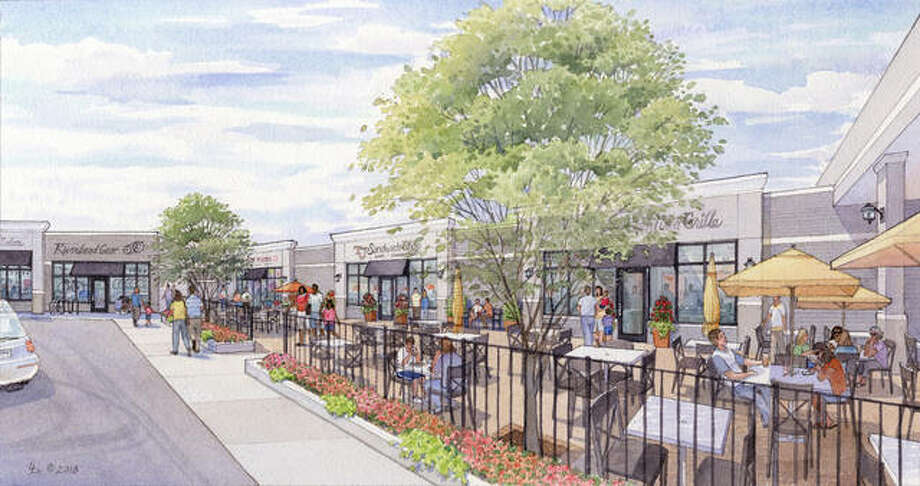 A watercolor mockup of a revamped Eastgate Plaza shows a hair salon, bike shop, frozen custard shop and a few restaurants with outdoor seating, just some of the types of retail businesses new owner Todd Kennedy and his ownership group hope to attract to the East Alton shopping center.