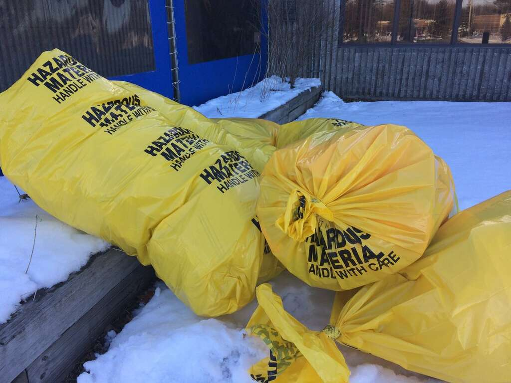 Bags of waste generated after a hazmat response at the U.S. Postal Service processing and distribution center on Karner Road in Colonie Sunday, March 11, 2018. (Lauren Stanforth/Times Union)
