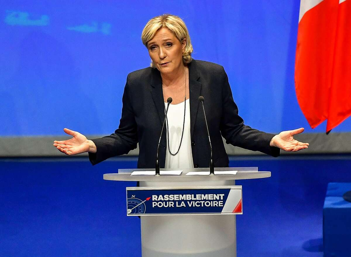 French far-right party Front National president Marine Le Pen speaks during her party's congress on March 11, 2018 in Lille, north of France, after being re-elected for a third term as leader. The 49-year-old proposed changing the party's name to the National Union as part of efforts to improve its image which has been associated with her father Jean-Marie since 1972. / AFP PHOTO / Philippe HuguenPHILIPPE HUGUEN/AFP/Getty Images