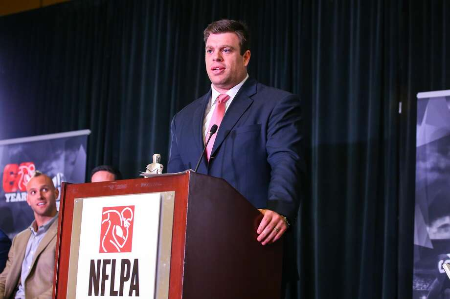 04 FEB 2016: NFLPA president Eric Winston speaks during the NFLPA Press Conference at the Moscone Center in San Francisco California. (Photo by Rich Graessle/Icon Sportswire) (Photo by Rich Graessle/Icon Sportswire/Corbis via Getty Images) Photo: Icon Sports Wire/Corbis Via Getty Images