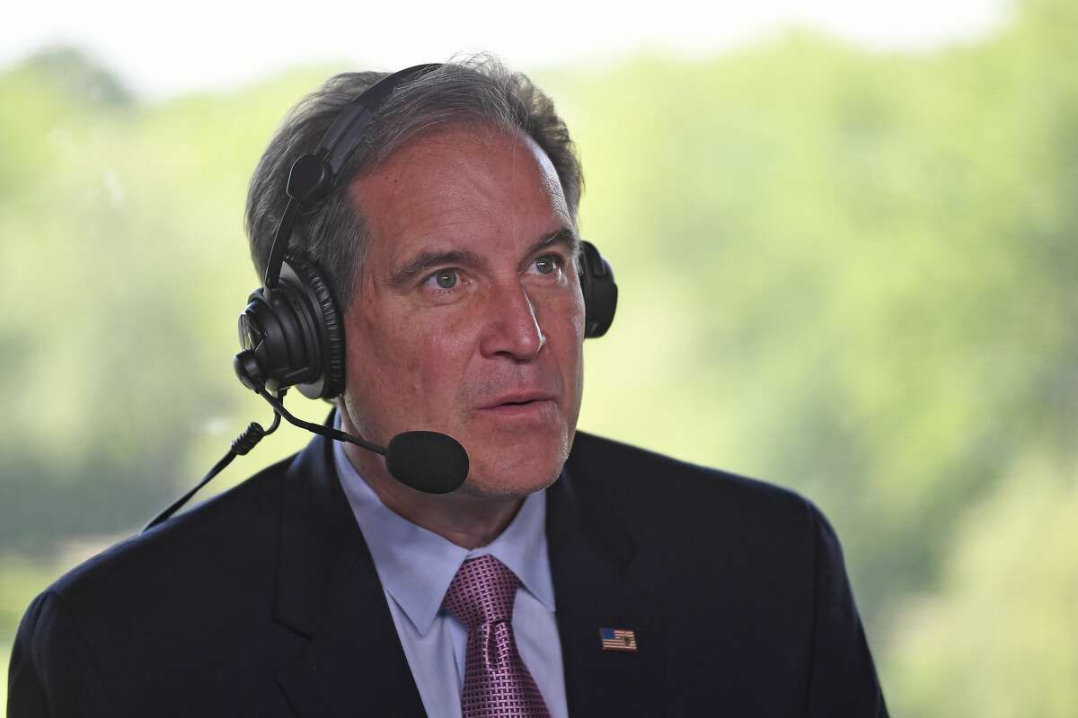 DUBLIN, OHIO - JUNE 03: Jim Nantz of CBS Sports in the announcer's booth during the third round of the Memorial Tournament presented by Nationwide at Muirfield Village Golf Club on June 3, 2017 in Dublin, Ohio. (Photo by Chris Condon/PGA TOUR)