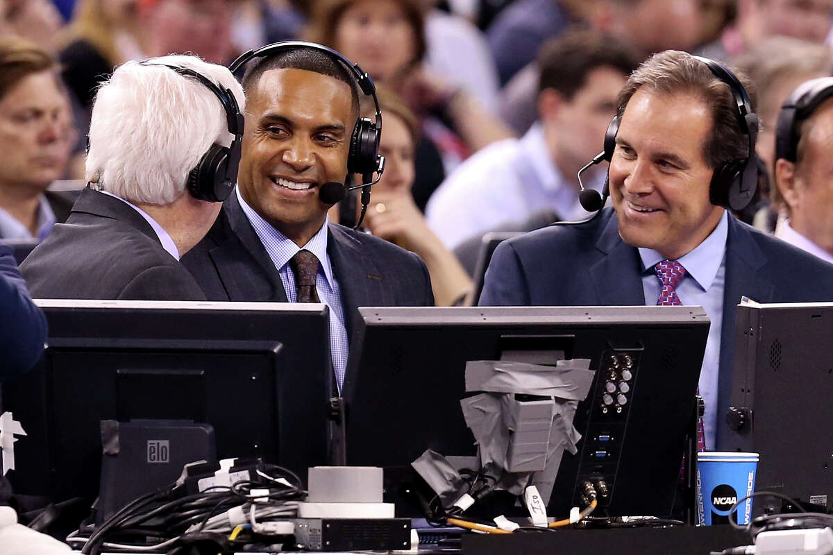 INDIANAPOLIS, IN - APRIL 04: CBS TV correspondents (L-R) Bill Raftery, Grant Hill and Jim Nantz speak as the Duke Blue Devils and the Michigan State Spartans play during the NCAA Men's Final Four Semifinal at Lucas Oil Stadium on April 4, 2015 in Indianapolis, Indiana. (Photo by Streeter Lecka/Getty Images)