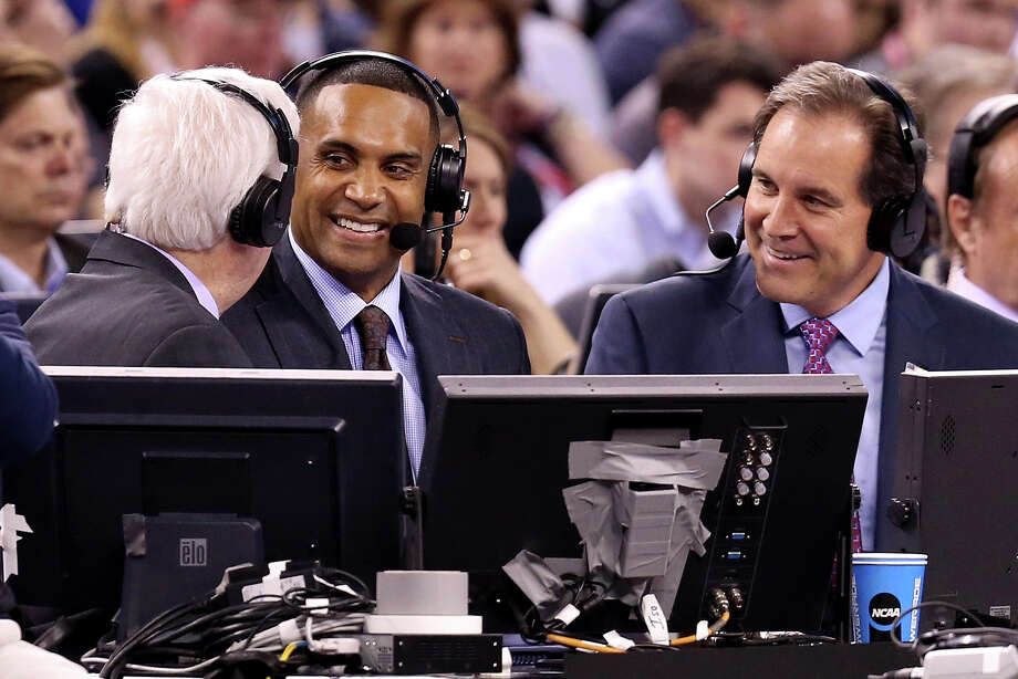 INDIANAPOLIS, IN - APRIL 04: CBS TV correspondents (L-R) Bill Raftery, Grant Hill and Jim Nantz speak as the Duke Blue Devils and the Michigan State Spartans play during the NCAA Men's Final Four Semifinal at Lucas Oil Stadium on April 4, 2015 in Indianapolis, Indiana.  (Photo by Streeter Lecka/Getty Images) Photo: Streeter Lecka/Getty Images