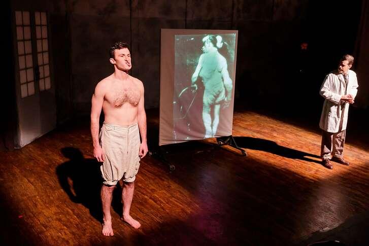 "From left: Joshua Marx as John Merrick and Michael Barrett Austin as Frederick Treves in Hillbarn Theatre�s ""The Elephant Man."""