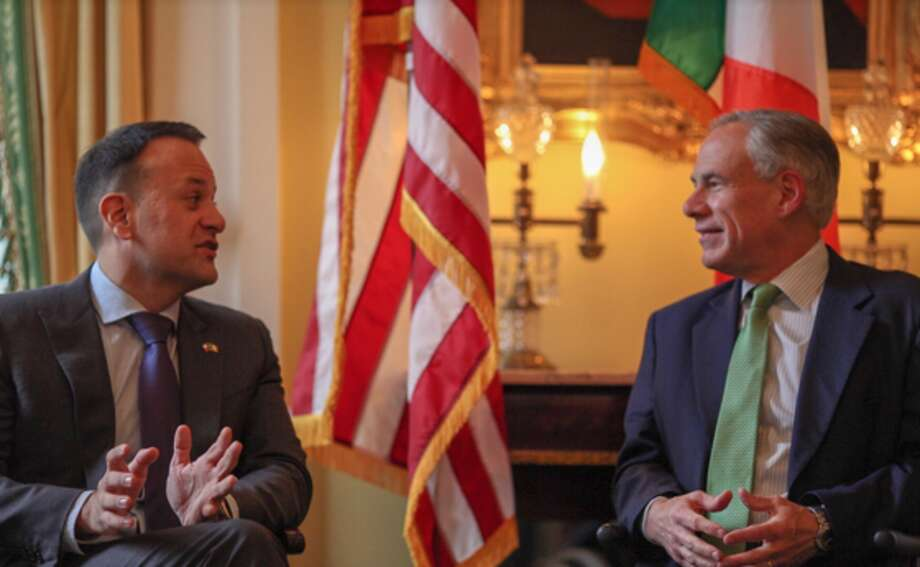Irish Prime Minister Leo Varadkar and Texas Gov. Greg Abbott huddled in Austin on Sunday to discuss improved trade between the Lone Star State and Ireland. (Photo by Andrew Leal/Courtesy Texas Governor's Office)
