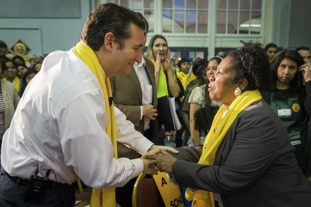 US Sen. Ted Cruz greets US Rep. Sheila Jackson Lee after both spoke at the Official Kickoff of National School Choice Week at Union Station at Minute Maid Park on Saturday, Jan. 25, 2014, in Houston. ( Smiley N. Pool / Houston Chronicle )