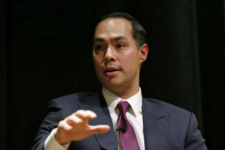Former San Antonio Mayor and former Secretary of Housing and Urban Development, Julian Castro, speaks  during the Making the Grade: A Conversation with Julian, Joaquin, and Rosie Castro event held Monday Feb. 19, 2018 at the Prothro Theater in the Harry Ransom Center on the University of Texas at Austin campus in Austin, Tx.