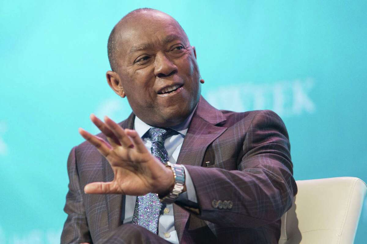 Sylvester Turner, mayor of Houston, speaks during the 2018 CERAWeek by IHS Markit conference in Houston, Texas, U.S., on Friday, March 9, 2018. CERAWeek gathers energy industry leaders, experts, government officials and policymakers, leaders from the technology, financial, and industrial communities to provide new insights and critically-important dialogue on energy markets. Photographer: F. Carter Smith/Bloomberg