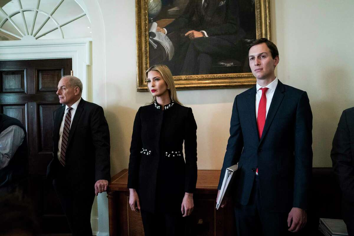 White House chief of staff John Kelly, left, Ivanka Trump, and her husband, senior adviser Jared Kushner, in the Cabinet Room at the White House.