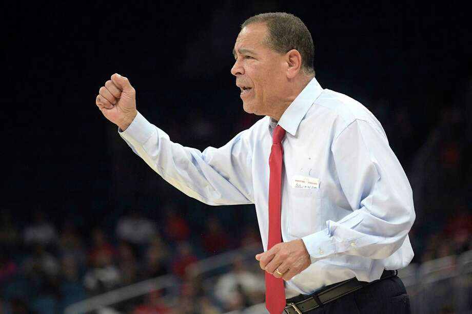 Houston head coach Kelvin Sampson reacts to a play during the first half of an NCAA college basketball championship game against Cincinnati at the American Athletic Conference tournament Sunday, March 11, 2018, in Orlando, Fla. (AP Photo/Phelan M. Ebenhack) Photo: Phelan M. Ebenhack, Associated Press / FR121174 AP