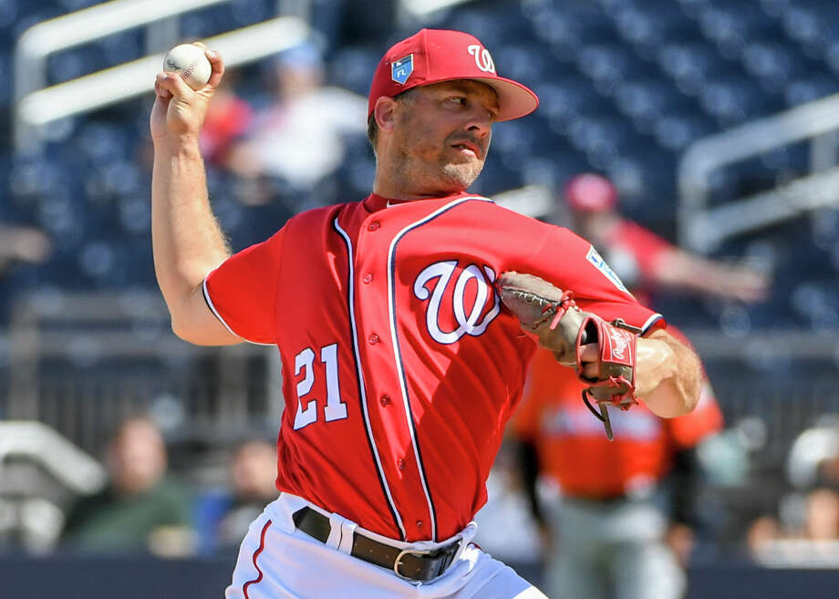 """Brandon Kintzler, seen here during spring training action, is """"not afraid to show his frustrations or opinions over anything,"""" Max Scherzer said. That includes his teammates' workouts. Photo: Washington Post Photo By Jonathan Newton / The Washington Post"""