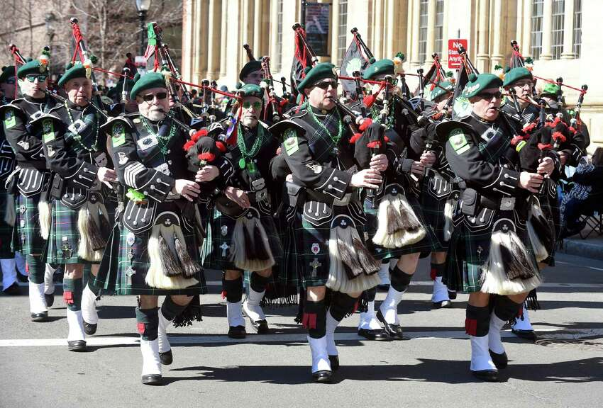 The New Haven County Firefighters Emerald Society Pipes & Drums band performs.