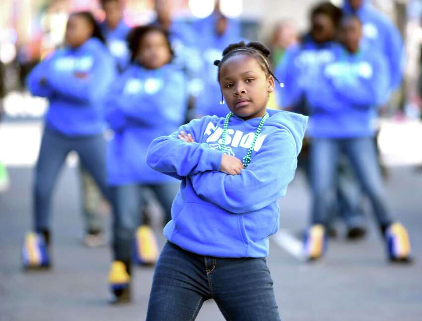 The Fusion Steppers and Drum Corp of New Haven performs.
