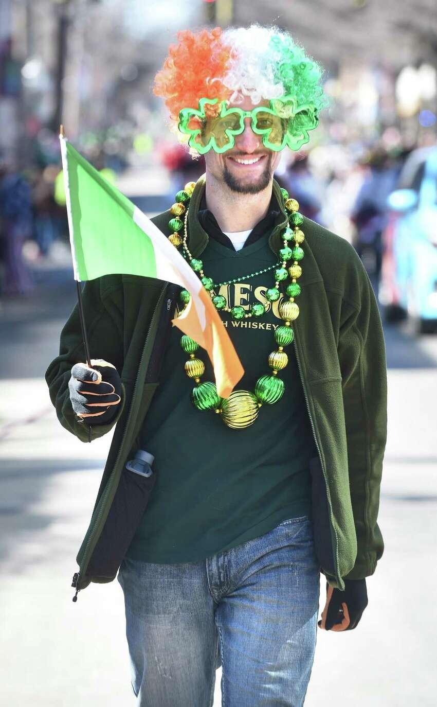 Eric Giordano of Milford walks with the Brennan-Lucey Irish Dance Academy.
