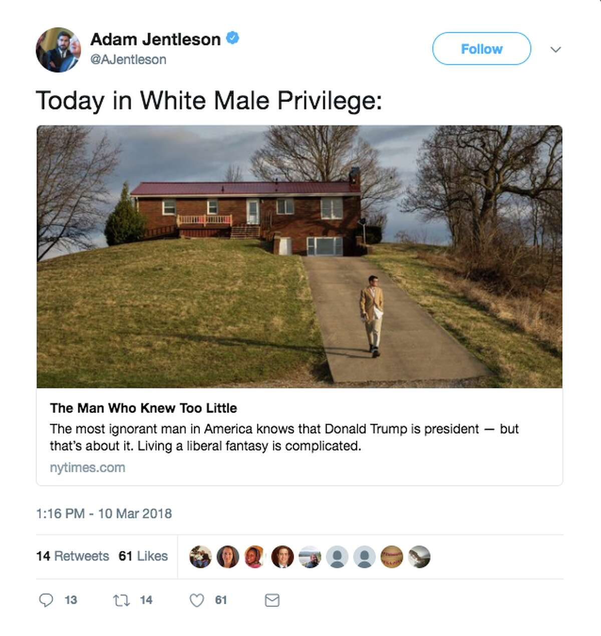 The New York Times' profile of Erik Hagerman was shared widely online. Many criticized Hagerman for electing to isolate himself from current events since President Trump was elected.