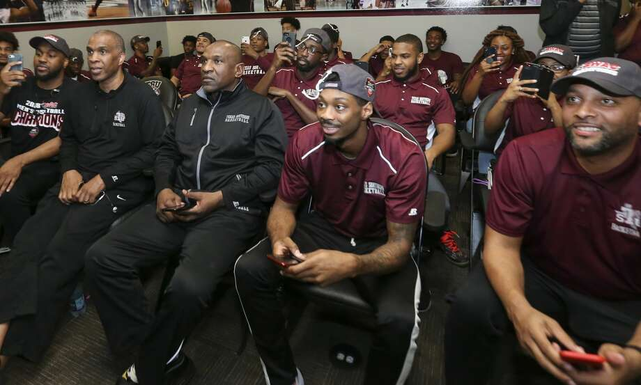 Texas Southern University men's basketball team finds out they will play North Carolina Center during a NCAA selection show watch party at H&PE Arena on Sunday, March 11, 2018, in Houston. ( Yi-Chin Lee / Houston Chronicle ) Photo: Yi-Chin Lee/Houston Chronicle