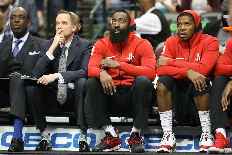 DALLAS, TX - MARCH 11:  James Harden #13 of the Houston Rockets sits on the bench during play against the Dallas Mavericks at American Airlines Center on March 11, 2018 in Dallas, Texas.  NOTE TO USER: User expressly acknowledges and agrees that, by downloading and or using this photograph, User is consenting to the terms and conditions of the Getty Images License Agreement.  (Photo by Ronald Martinez/Getty Images) Photo: Ronald Martinez/Getty Images