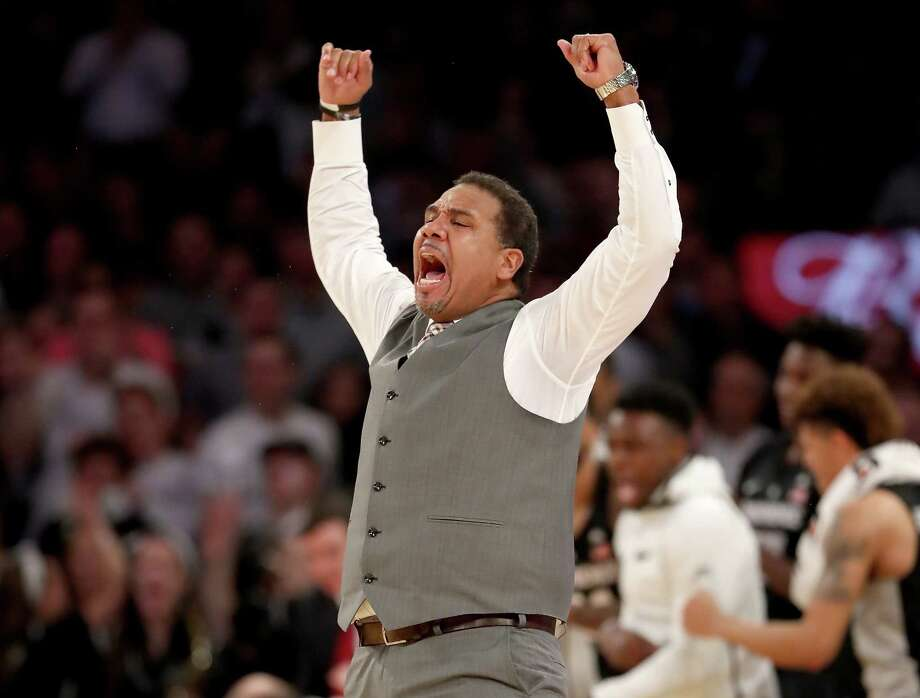 NEW YORK, NY - MARCH 09:  Head coach Ed Cooley of the Providence Friars celebrates during the second half against the Xavier Musketeers during semifinals of the Big East Basketball Tournament at Madison Square Garden on March 9, 2018 in New York City.  (Photo by Elsa/Getty Images) Photo: Elsa / 2018 Getty Images