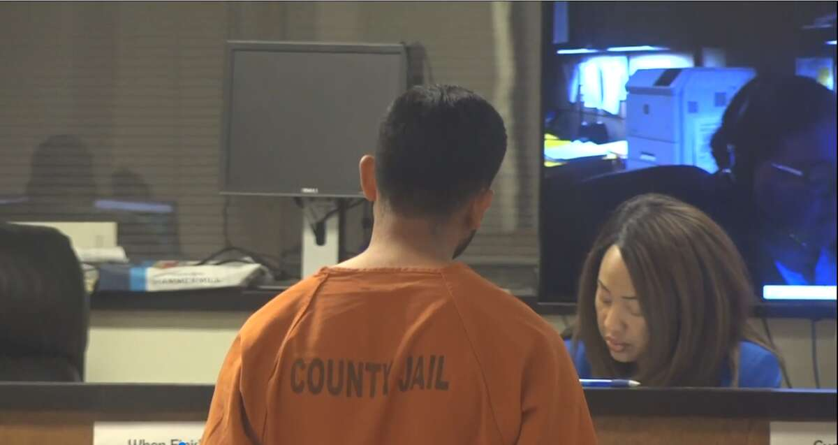 A screenshot of video footage of a probable cause hearing at the Harris County Courthouse in Houston, Texas on March 11, 2018. Elmer Quintanilla, 25, is charged with murder following a crash that killed one person and injured his wife and three children.