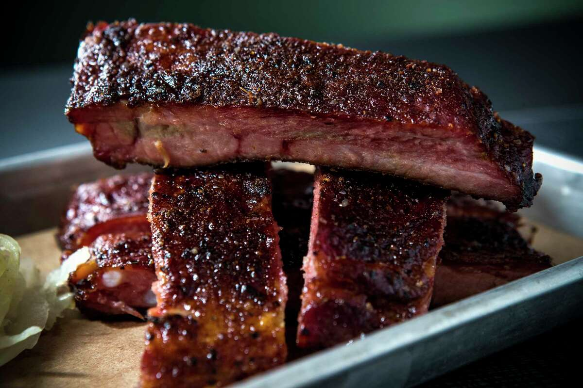 Ribs from Q a new restaurant from pitmaster Greg Gatlin of Gatlin's BBQ in Terminal E at George Bush International Airport.