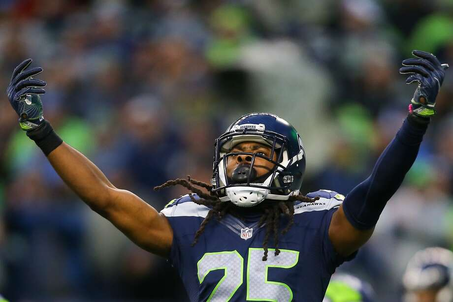 Seahawks corner back Richard Sherman hypes up the crowd as time winds down on the Eagles in the second half at CenturyLink Field on Sunday, Nov. 20, 2016.  Photo: GRANT HINDSLEY, SEATTLEPI.COM