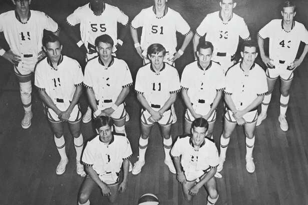 "The 1967-68 basketball team at Conroe High School. Bottom row from left, John Cochran and Bruce Reagan. Second row, from left, Pat Whatley, Leslie Moses, Dickie Beck, Mike Whatley and Mike Edwards. Third row from left, Paul Leonard, Benjie ""Soupy"" Sayles, Terry Thompson, Bill Purswell and George Morris."