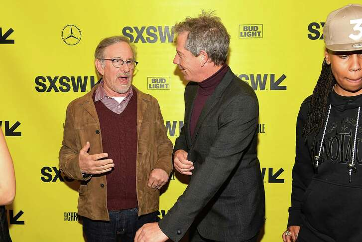 "AUSTIN, TX - MARCH 11:  Steven Spielberg and Ben Mendelsohn attend ""Ready Player One"" Premiere 2018 SXSW Conference and Festivals at Paramount Theatre on March 11, 2018 in Austin, Texas."