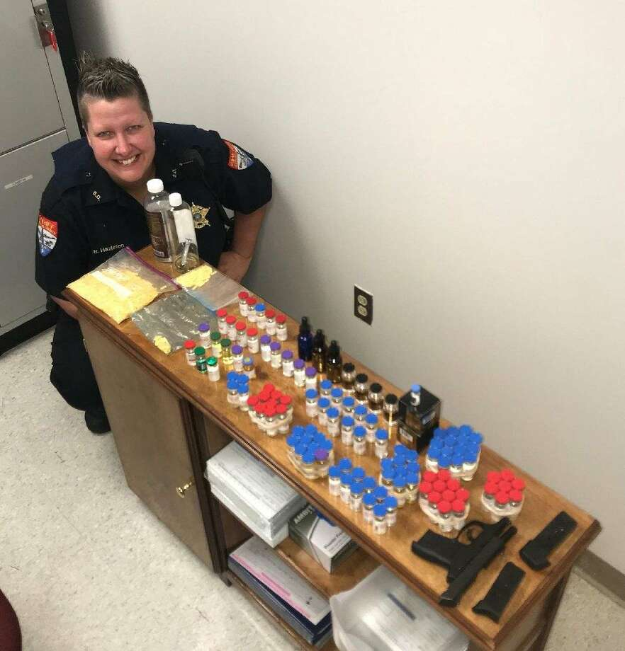 A Jefferson County Sheriff's Deputy seized 107 bottles of Testosterone and 303 grams of Xanax during a traffic stop on March 10. Photo provided by Jefferson County Sheriff's Office.