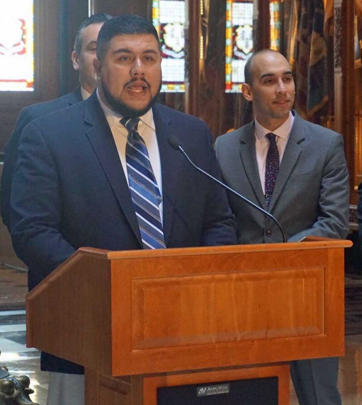 Rep. Christopher Rosario, D-Bridgeport, chair of the Black and Puerto Rican Caucus, outlined the caucus's legislative priorities at the Capitol in Hartford, Conn. on Monday, March 12, 2018.