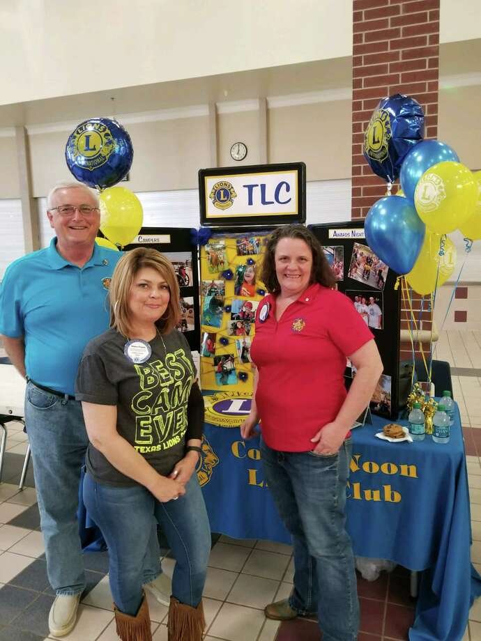 Conroe Noon Lion Club members from left to right Paul Moore, Helen Payne and Shelia Thomas were recruiting campers for the Texas Lions Camp during the recent CISD Family Resources Fair.