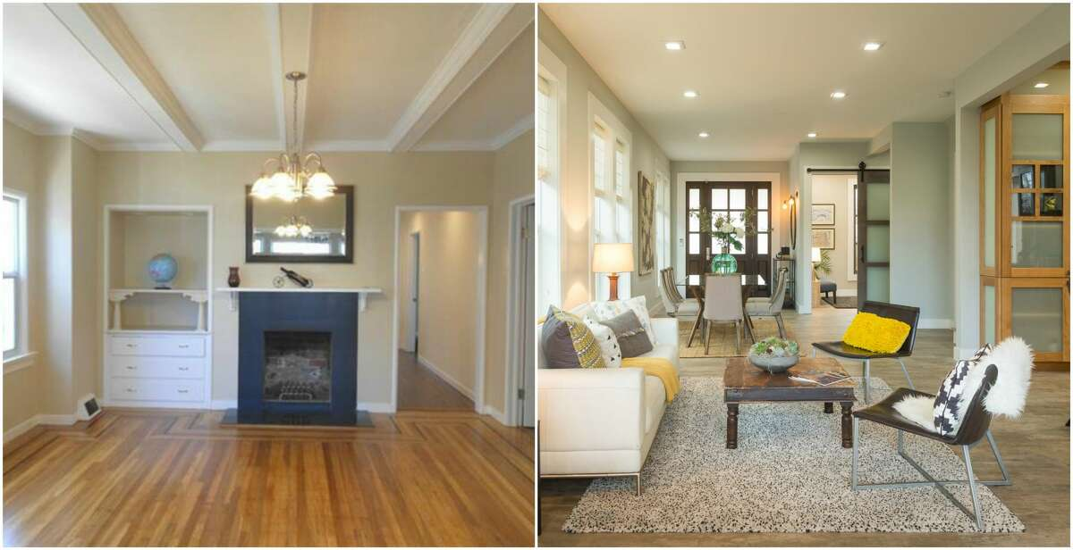 Before-and-after photos show the transformation of a home in Oakland at 661 62nd. The image on the left shows the home before a major remodel; the photo on the right shows the after. The property is listed for $1.379 million.