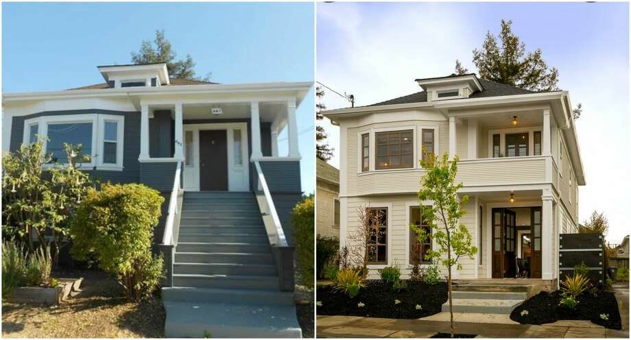 Before-and-after photos show the transformation of a home in Oakland at 661 62nd. The image on the left shows the home before a major remodel; the photo on the right shows the after. The property is listed for $1.379 million. Photo: Left, MLS; Right, Scott Hargis