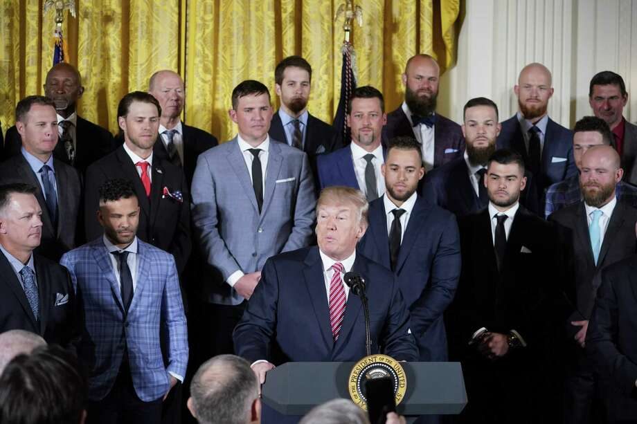 US President Donald Trump speaks during an event in honor of 2017 World Series Champion Houston Astros in the East Room of the White House on March 12, 2018 in Washington, DC. / AFP PHOTO / Mandel NGANMANDEL NGAN/AFP/Getty Images Photo: MANDEL NGAN, AFP/Getty Images / AFP or licensors