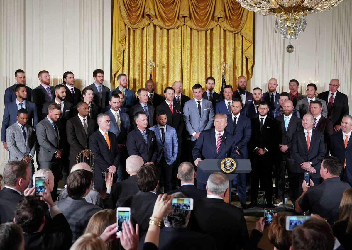 US President Donald Trump speaks during an event in honor of 2017 World Series Champion Houston Astros in the East Room of the White House on March 12, 2018 in Washington, DC. / AFP PHOTO / Mandel NGANMANDEL NGAN/AFP/Getty Images