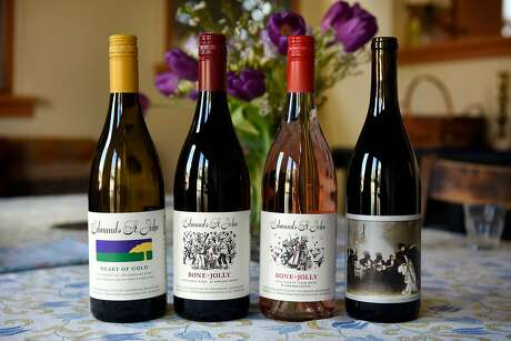 Bottles of Edmunds St. John wines are displayed at the home of winemakers Steve Edmunds and Cornelia St. John in Berkeley, CA, on Monday February 19, 2018.