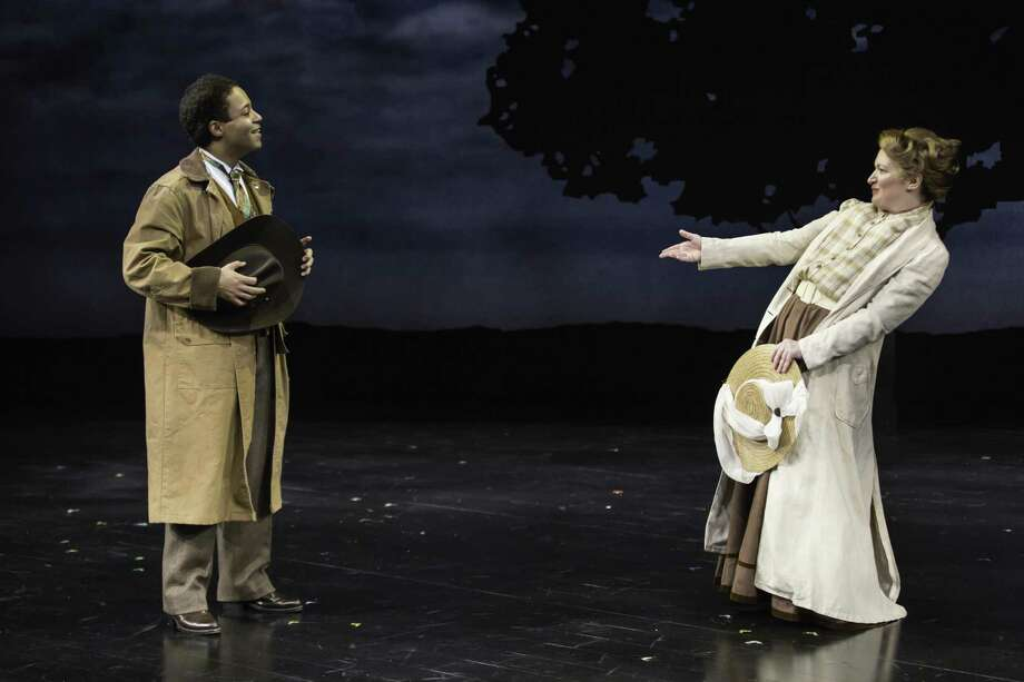 "Christopher Livingston and Kelly Hutchinson in ""Baskerville."" Photo: T. Charles Erickson / Long Wharf Theatre"
