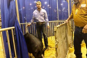 Cody Wolf, 17, stands with his winning Berkshire pig on March 12, 2018.