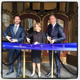 Harry Winston SF Salon Manager Matthew Coleman (left) with Charlotte Shultz and Winston exec Michael Moser. March 7, 2018.