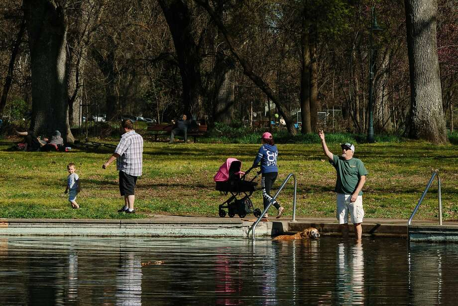 People gather along the Sycamore Pool at the Lower Bidwell Park in Chico. Photo: Mason Trinca, Special To The Chronicle
