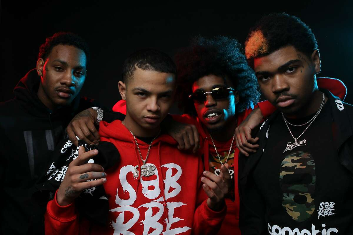 """(L-R) Slimmy B, Lul G, DaBoii and Yhung T.O.�make up SOB x RBE, the Vallejo rap group that has jumped to hip-hop fame following their recent feature on the Black Panther soundtrack and their debut album, """"Gangin'."""""""
