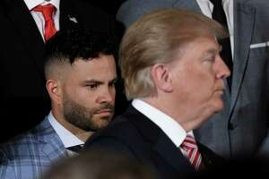 Jose Carlos Altuve, second baseman for the Houston Astros, looks on as U.S. President Donald Trump hosts the 2017 World Series Champion Houston Astros during a ceremony on Monday, March 12, 2018 in the East Room at the White House in Washington, D.C.