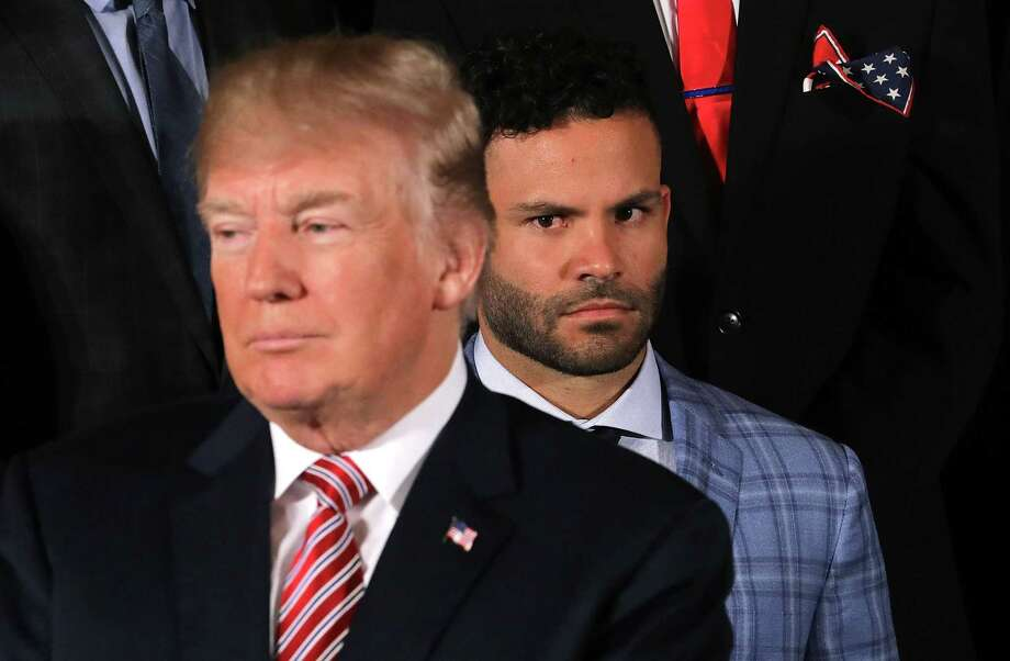 PHOTOS: The Astros' Jose Altuve at the White HouseWASHINGTON, DC - MARCH 12:  Houston Astros second baseman Jose Altuve (R) watches U.S. President Donald Trump during a celebration of the team's World Series victory in the East Room of the White House March 12, 2018 in Washington, DC. Trump talked about Hurricane Harvey and the city and team's resilience in the face of the storm.Browse through the photos above for more shots of Jose Altuve at the White House on Monday. Photo: Chip Somodevilla, Getty Images / 2018 Getty Images