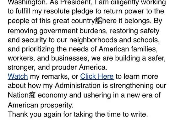 Portion of letter received from Donald Trump