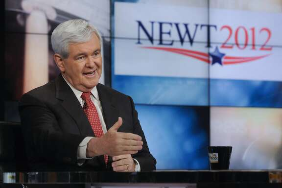 """In this image released Sunday, May 15, 2011, by NBC News former House Speaker Newt Gingrich is interviewed on NBC's """"Meet the Press"""" in Washington Sunday. Gingrich said he is very serious about seeking the U.S. presidency, but laughed off any suggestion that he could end up with the Republican Party's vice presidential nomination next year. (AP Photo/NBC News, William B. Plowman)"""