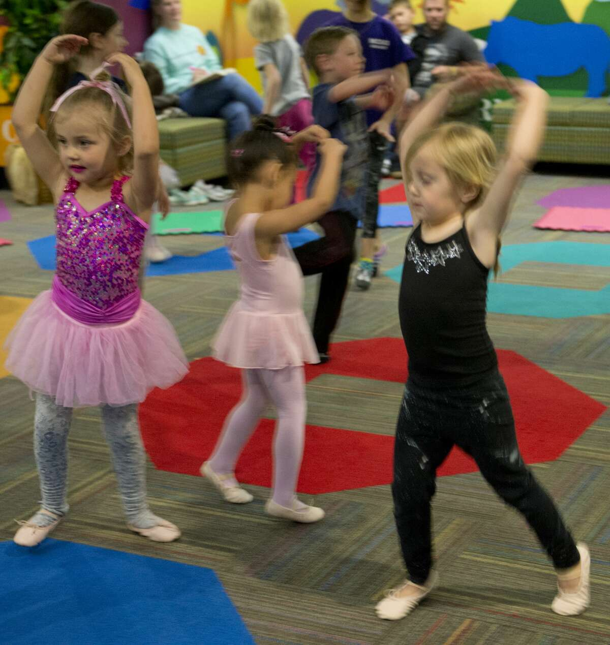 Prince and princesses practice their ballet moves during free dance time 03/12/18 at the Centennial Branch Library, for Princess Ballet Camp during Spring Break week. Tim Fischer/Reporter-Telegram