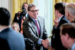 Energy Secretary Rick Perry arrives for a ceremony in the East Room of the White House in Washington, Monday, March 12, 2018, where President Donald Trump honored the World Series Champion Houston Astros for their 2017 World Series victory. (AP Photo/Andrew Harnik)
