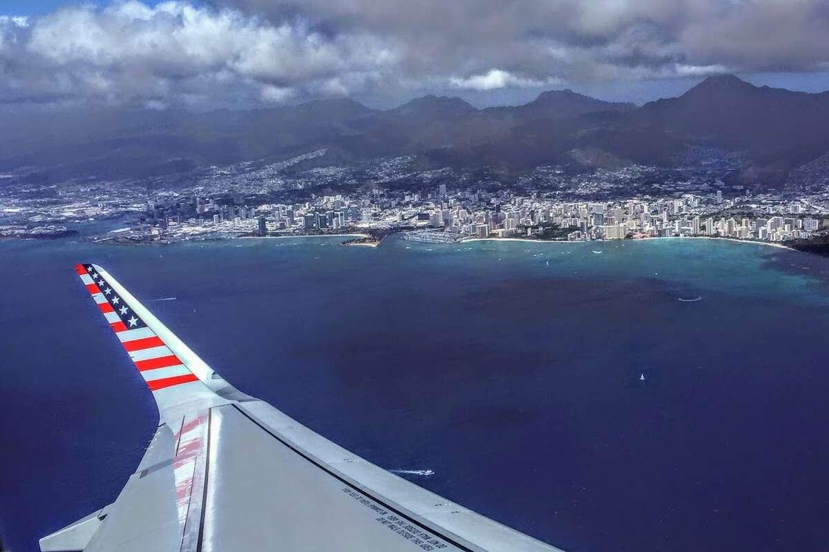 Taking off from Honolulu on an Alaska Air/Virgin A321 flight to SFO