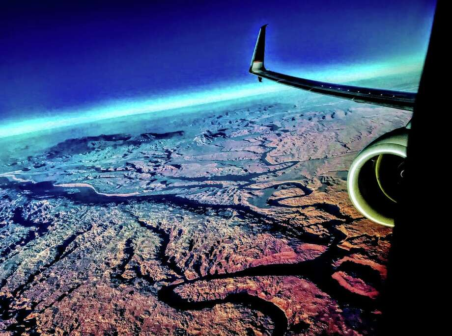 Flying over southern Utah canyon country on a Chicago-LAX nonstop on United Photo: Chris McGinnis